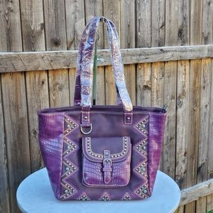 Montana West Buckle Collection Tote Purple